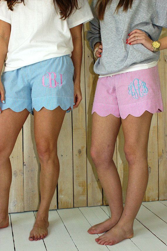 True southern girls monogram everything, so it's no surprise we Savannah girls find these monogrammed SEERSUCKER {!} SCALLOPED {!!!} shorts utterly adorable. Your ladies will love them!