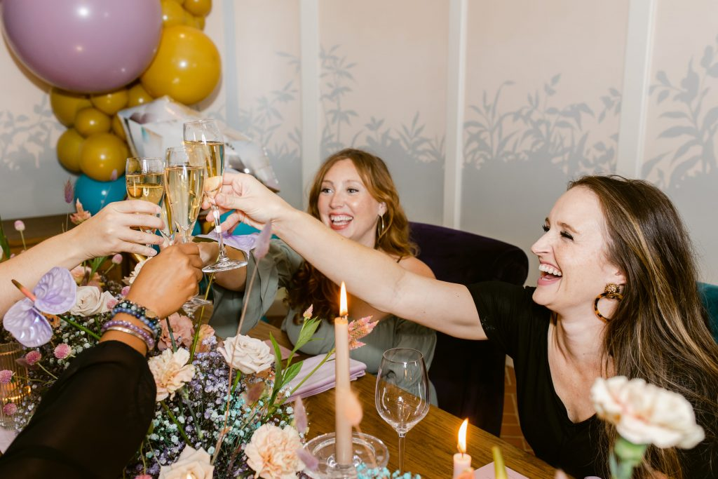 Bridesmaids champagne tost