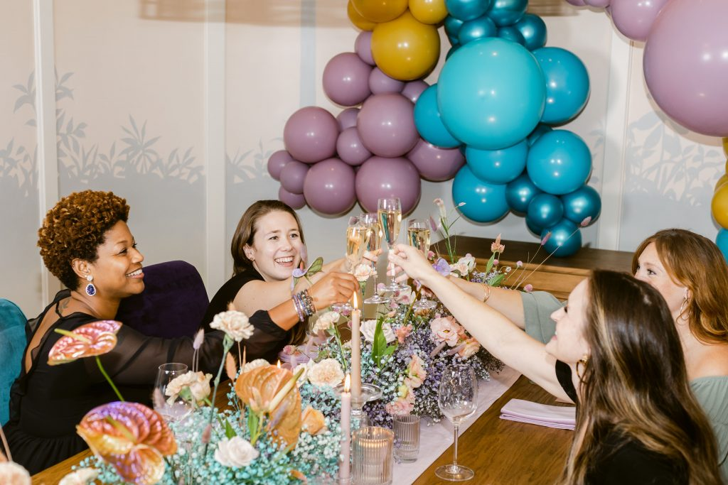 Bridesmaids and bride at a Bachelorette Party