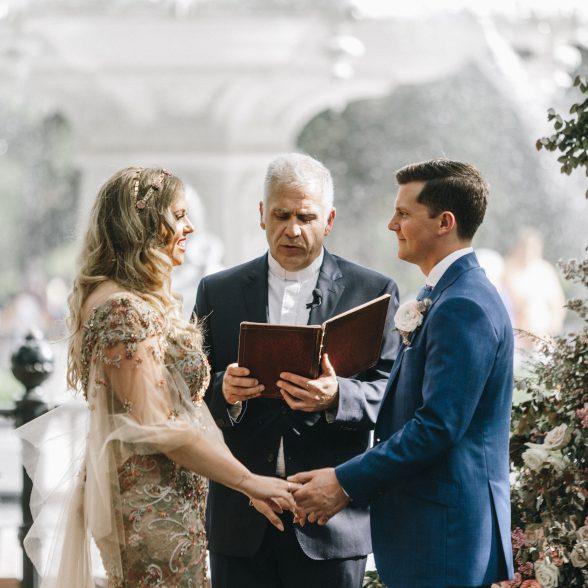 wedding ceremony at forsyth park fountain savannah ga